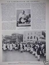 ARTICLE 3 PAGES 1931 LA LIBÉRATION DE GHANDI HOMMAGE DE LA FOULE AU MAHATMA
