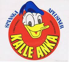 Kalle Anka Donald Duck Disney original Spanish Orange Crate label