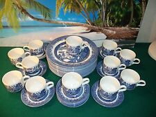 LOT OF 36 CHURCHILL BLUE WILLOW MADE IN ENGLAND CHINA