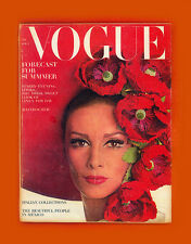 VOGUE MAGAZINE-APRIL 1,1965-WILHEMINA-JANE HOLZER-BRIGITTE BARDOT-VERUSHKA