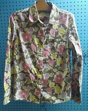 Boden Womens Button Down Blouse Shirt Top Collared Floral Brown Cotton US 12