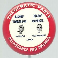 TOMLINSON, McKENZIE THEOCRATIC PARTY JUGATE POLITICAL PIN