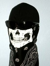 BLACK PAISLEY SKULL FACE NECK MASK SCARF WIND COTTON BANDANA COVER SKI SNOW ATV