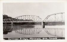 Gatineau River Bridge MANIWAKI l'Outaouais Quebec Canada 1940-50s Real Photo PC