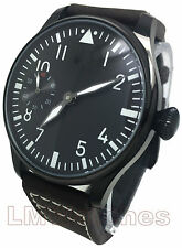 Parnis 44mm Black PVD Pilot Classic Sterile Asia 6497 New UK