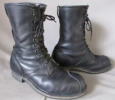 MENS LINESMAN BLACK LEATHER WORK COMBAT MILITARY MOTORCYCLE BOOTS SIZE 10