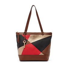 Fossil $198 Shopper Handbag NWT New Leather Purse Red Multi Patchwork ZB6691995