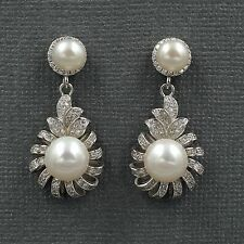 White Pearl Freshwater CZ 925 Sterling Silver Drop Dangle Earrings 08246 New