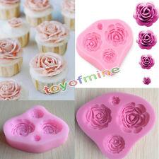 4 Size Rose Fiore Silicone Stampo Fondente Sugarcraft Torta MUFFA Mould MOLD