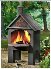 Outdoor Chiminea Fireplace BBQ Stove Grill Cooking Wood Fire Oven Pizza Hot Dog