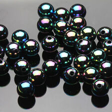 50Pcs 8MM Acrylic Black Plated AB Round Loose Spacer Beads Jewelry Finding