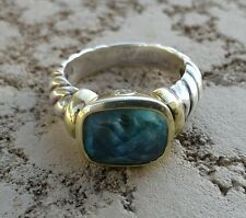 David Yurman Noblesse Ring  Blue Topaz, sterling silver and yellow gold Size 6