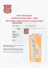 BRIAN RICHARDSON SHEFFIELD UNITED 1955-1965 ORIGINAL HAND SIGNED CUTTING/CARD