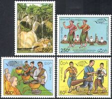 Laos 1995 Tourism/Caves/Waterfall/Nature/Dancers/Monks/Music/Drums 4v set n42564
