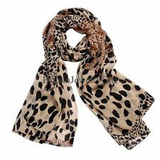Fashion Women's Accessory Long Style Lady Leopard Chiffon Scarf Soft Shawl Wrap
