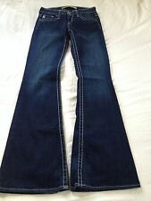 Big Star Women's Remy Low Rise Flare Dark Blue Jeans Size 25 Inseam 34