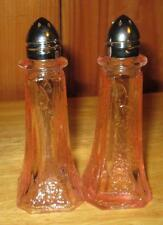 New Pink Depression Glass Retro Pattern Mayfair Salt & Pepper Beautiful Shakers
