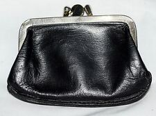 Vintage Black Leather 2 Section Kiss Top Clasp Coin Purse with Natural Lining