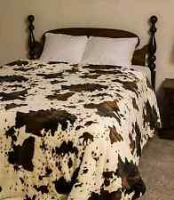 "79"" x 96"" Queen Size RODEO COW Faux Mink Blanket Animal Print Nature Throw NEW"