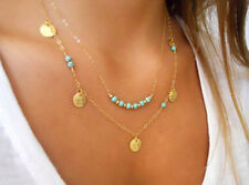 boho turquesa collar moneda charms colgante multicapas chic de moda color dorado