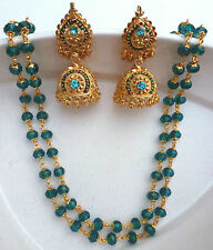 Firozee Long Crystal Necklace with Meena Jhumki Earring