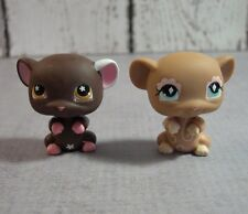 Littlest Pet Shop lot of 2 sitting up mice #462 tan mouse #538 brown mouse
