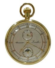 *jcr_m* ZENITH - CHRONOMETER 5011-K GOLD 18KT MOONPHASE POCKET WATCH *UNUSED*