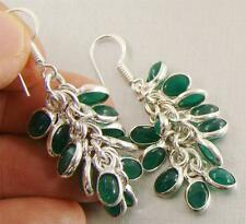 GREEN ONYX 925 Sterling Silver Hook Drop Dangle Earrings 57mm - 77s