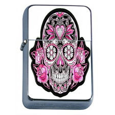 Windproof Refillable Oil Lighter Sugar Skull D14 Day of The Dead Dia De Muertos