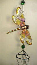 DRAGONFLY WIND CHIME  36 in. total YARD DECOR BLING GARDEN OUTDOOR SPACE orange