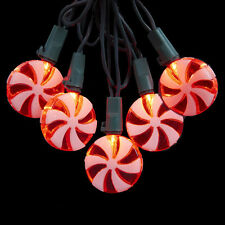 KURT S. ADLER NOVELTY PEPPERMINT SWIRL CANDY CHRISTMAS LIGHTS 20 LIGHT SET