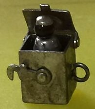 Vintage Articuladed 3D Sterling Jack in the Box Charm w/ Black Bead Head