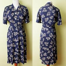 1940s 1950s Dress Novelty Print Tornado Twister Navy Blue 40s 50s Vintage