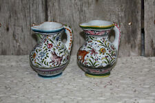 CERAMICAS DE COIMBRA PORTUGAL POTTERY 2 PITCHER Hand Painted Folk Art Animals