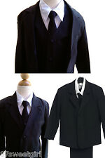 Formal Boys suit with vest / long tie black Boys tuxedo size L ( 12 -18 MO )