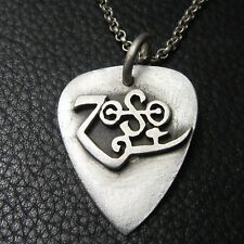 MJG STERLING SILVER ZOSO GUITAR PICK PENDANT #1. JIMMY PAGE. LED ZEPPELIN.
