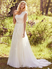 Newest Elegant Lace Appliques Tulle Modest Wedding Dresses With Cap Sleeves
