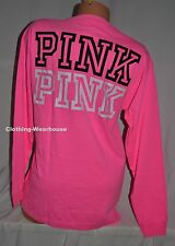 Victoria's Secret PINK Neon V Neck Campus Long Sleeve Tee Top Shirt Logo M NIB