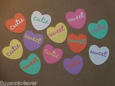 "12 Valentine conversation hearts  die cuts 1 3/4""  greeting card die cut"