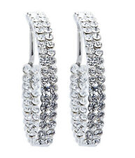 CLIP ON HOOP EARRINGS - silver earring hoops with diamante stones - Macey