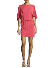 $520 NWT Philosophy Di Alberta Ferretti Flutter-Sleeve Jersey Salmon Dress SZ 10