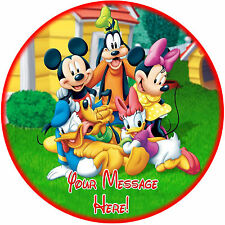 """A 7.5"""" Round Mickey Mouse & Friends Personalised Cake Topper ICING"""