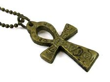 Ankh Pendant, 1 Inch, Antique Brass with Hieroglyphs on Ball Chain #CV-NE-462