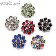 6pcs/lot Colorful Flower 18mm Metal Snap Button Charms Fit Snaps Jewelry KZ0341