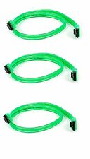 3x 18inch SATA 3.0 III SATA3 SATAiii 6GB HDD Hard Drive Data Cable UV Green Cord
