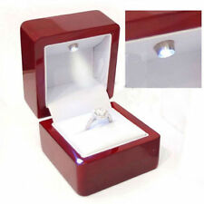 Cherry Polish Diamond Jewelry Ring Box with LED Light Engagement Wedding NM