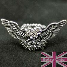 BIG ANGEL WINGS tattoo ROSE rockabilly CRYSTAL RING rhinestone VINTAGE SILVER PL