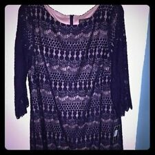 Jessica Howard Illusion-Sleeve Crochet Lace Shift navy dress Size 8