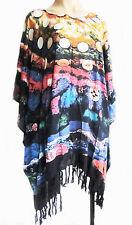 Damen Kurz Kaftan Poncho Tunika Top Strand Kleidung Für L Plus Größe Fransen