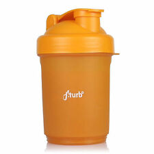fiTurbo 3 in 1 20 oz Protein Shaker Bottle Mixing Blender Cup 400ml-600ml Orange